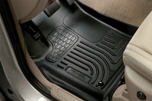 Black 2 Rows Husky Liners Weatherbeater Series 1st 2nd Seat Floor Liners Mats