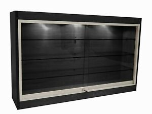 Black Wall Mounted Display Showcase With Glass Doors Shelves Lights