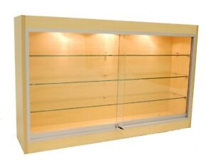 Maple Wall Mounted Display Showcase With Glass Doors Shelves Lights