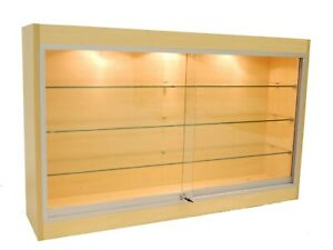 Maple Wall Mounted Display Showcase With Glass Doors Shelves Lights Lock