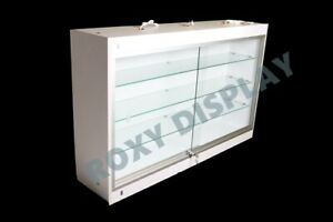 White Wall Mounted Display Showcase With Glass Doors Shelves Lights