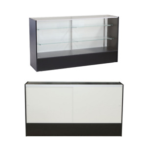 Black Wood Full Vision Display 70 Inch Showcase With Adjustable Shelving