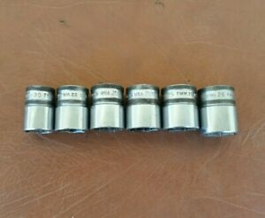 Snap On 1 2 Dr 6pc Metric Socket Lot Twm20 Twm26 Usa 20 22 23 24 25 26