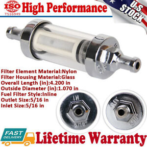 Universal Chrome Plated 5 16 Hose Barb Inlet Outlet Clear View Gas Fuel Filter