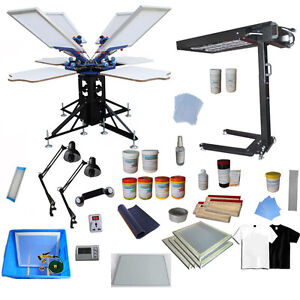 4 Color Silk Screen Printing Kit Flash Dyer Exposure Press Machine
