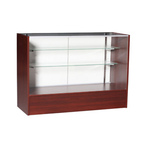Cherry Wood Full Vision 48 Inch Display Showcase With Adjustable Shelving