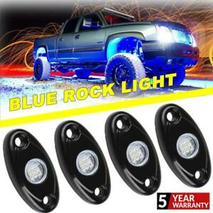 4x Blue Led Rock Light Off Road Underglow Foot Wheel Well Lamp Truck Trail New