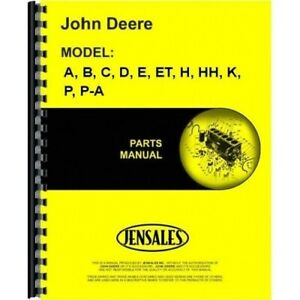 John Deere A B C D E Et H Hh K P Pa Manure Spreader Parts Catalog Manual Pcc63