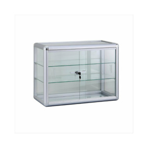 Aluminum Framed Tempered Glass Counter Top Display Case With Shelves And Lock