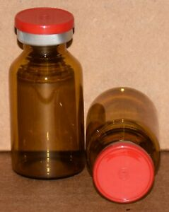 Usp 20 Ml Amber Sterile Vial With Red Plain Flip Top Seal Any Qty