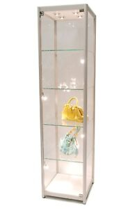 Silver Aluminum Framed Tempered Glass Tower Display Showcase With Lock