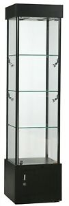 Black Tower Display Showcase With Led Lights Lock And Storage 72 H