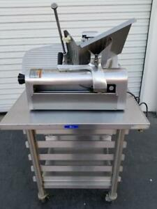 Hobart 1612e Meat Cheese Vegetable Slicer W Sharpener S s Table On Casters