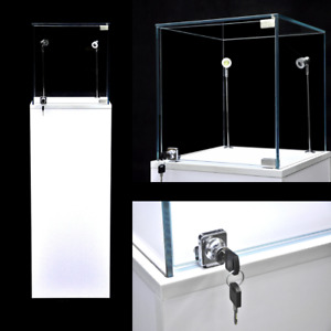 Glass Top White Pedestal Exhibition Display Showcase With Led Lights And Lock