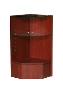 Cherry Wood Veneer Corner Pentagon Display Case With Tempered Glass Shelves