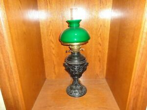 Antique 19th C Cast Metal Base Green Overlay Glass Shade Fluid Oil Lamp