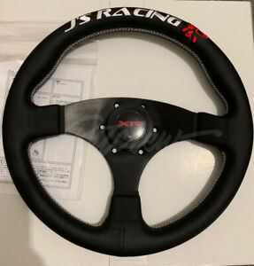 J S Racing Xr Type F Steering Wheel 325mm Black Leather White Stitch