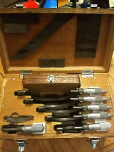 Mitutoyo 0 6 Micrometer Set In Wooden Case Model 103 907a used Free Ship
