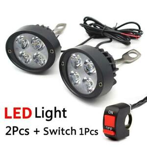 2x Motorcycle Headlight Spot Fog Lights Head Lamp 4 Led Front 12v Driving