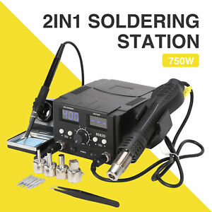 Pro 8528d 2in1 Soldering Iron Hot Air Gun Smd Power Supply Solder Kit Station