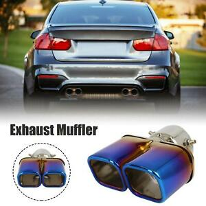 6 38 Car Exhaust Muffler Pipe Double Tip 2 99 Inlet 5 75 Outlet Blue Burnt