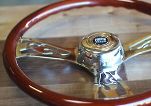 18 Steering Wheel 3 Spoke Flame Wood Chrome Big Rig Fs Horn Button