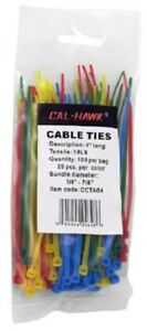 100 Pc Assorted Colors 4 Inch Long Cable Ties Self Locking Nylon Zip Tie Wrap