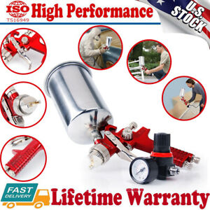 1 4mm Nozzle Gravity Feed Hvlp Air Paint Spray Gun Regulator Paint Clearcoat Usa