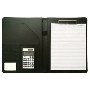 3x a4 Leather Office Portfolio Organizer Business Padfolio With Solar Calcul L4