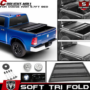 For 2019 Dodge Ram 1500 5 7 68 4 Bed Cover Tri Fold Soft Vinyl Tonneau Cover