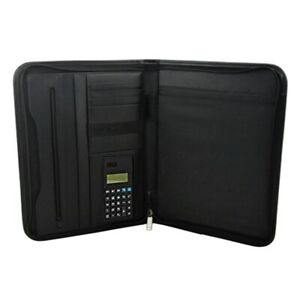 4x pu Leather Briefcase Business Binder Padfolio Portfolio With Calculator F I8
