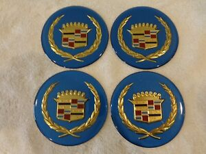 Cadillac Wire Wheel Cover Center Cap Medallions 4pc Set Blue Gold