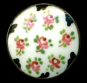 Antique Button Pink Roses Hand Painted Porcelain In Metal