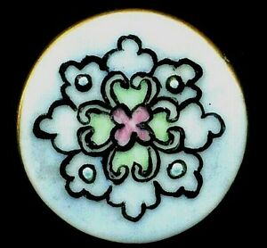 Antique Button Very Pretty Hand Painted Porcelain Design With Lovely Colors