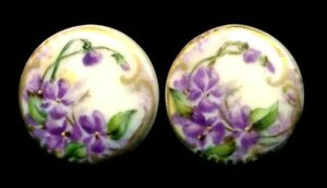 Pair Of Antique Hand Painted Porcelain Stud Buttons Purple Violets