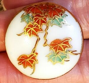 Vintage Japanese Kutani Not Satsuma Porcelain Button Maple Leaves