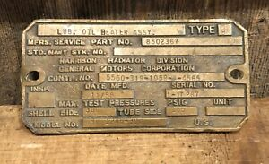 Old Vintage LUBE OIL HEATER HARRISON RADIATOR Industrial Brass Plaque Sign $65.00