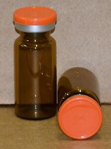 Usp 10 Ml Amber Sterile Vial With Orange Plain Flip Off Seal Any Qty