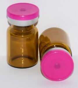 Usp 5 Ml Amber Sterile Vial With Fuchsia Pink Plain Flip Top Seal Any Qty