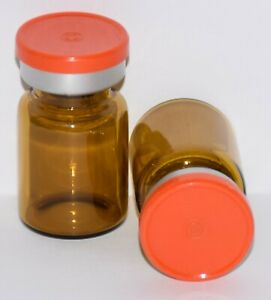 Usp 5 Ml Amber Sterile Vial With Orange Plain Flip Top Seal Any Qty
