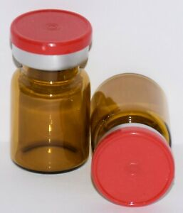 Usp 5 Ml Amber Sterile Vial With Red Plain Flip Top Seal Any Qty