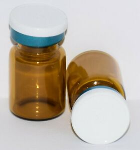 Usp 5 Ml Amber Sterile Vial With White On Blue Plain Flip Top Seal Any Qty