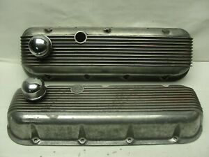 Vintage Cal custom 40 2100 Ribbed Aluminum Valve Covers Bbc 396 402 427 454