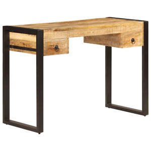 Vidaxl Solid Mango Wood Desk With 2 Drawers 43 3 Work Study Console Table