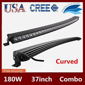 37inch Curved Led Light Bar 180w Offroad Slim Single Row Combo Lamp Rzr 38 40