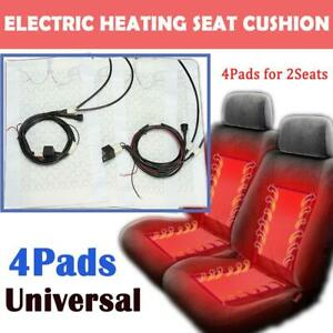 4x Universal Heating Pads Car Seat Heater Kit 12v High Low Switch For 2 Seats