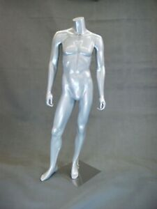 Glossy Silver Male Headless Fiberglass Standing Mannequin With Round Metal Base