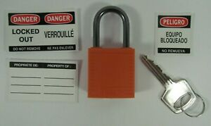 Lot Of 5 Brady 143154 Lockout Padlock kd orange 1 2 5 h