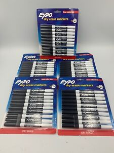 Expo Low odor Dry erase Marker Fine Point Black Lot Of 50 5 10 Packs