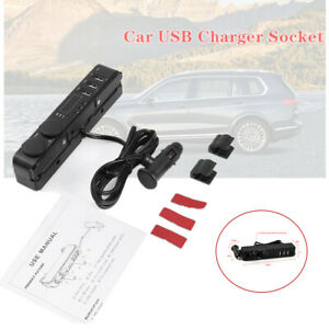 Car Multi function Backseat Temperature Time Usb Fast Charging Socket Charger